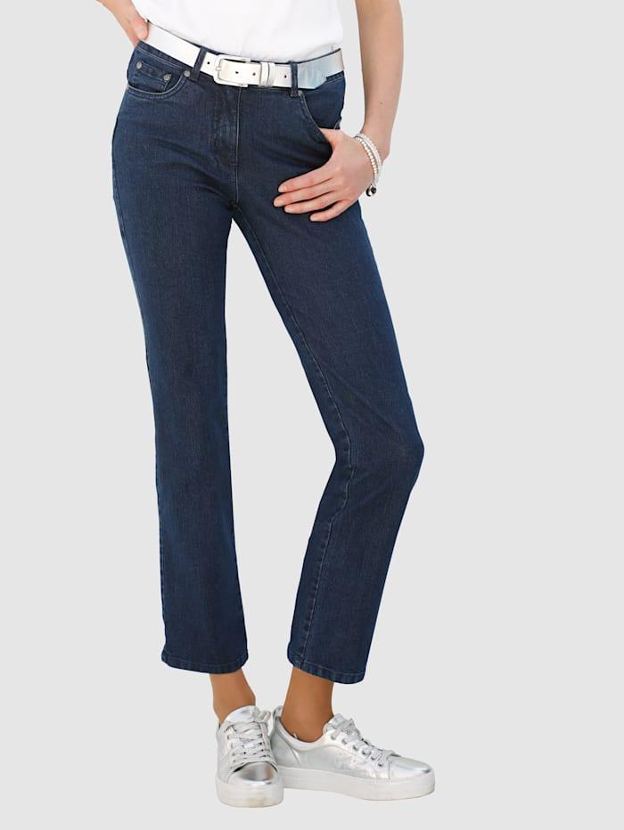 Dress In Raka jeans Laura Straight med strass på bakfickorna, Marinblå