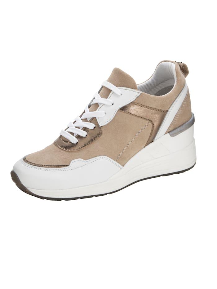 Naturläufer Sneakers compensées en superbe association de cuirs, Sable/Blanc