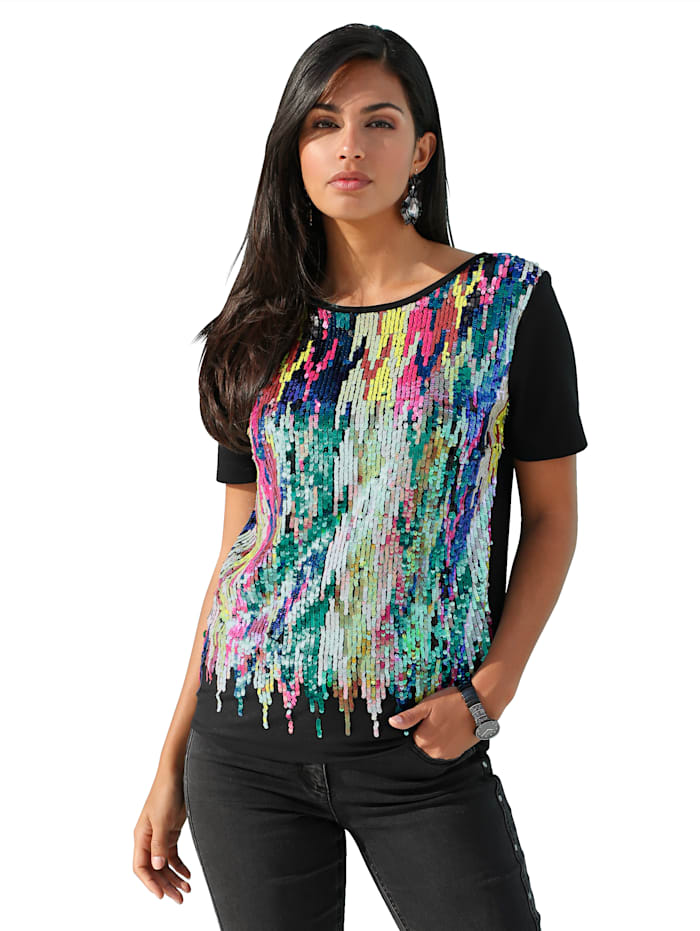 AMY VERMONT Shirt mit Pailletten, Schwarz/Multicolor