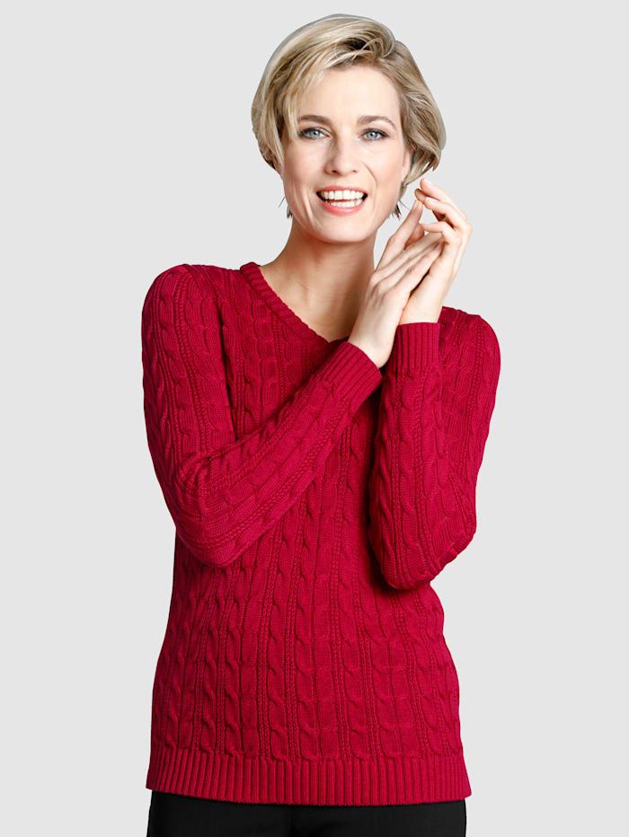 Dress In Pullover mit Zopfstrickmuster, Rot