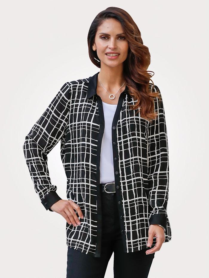 MONA Bluse mit kontrastreichem Druck, Schwarz/Weiß