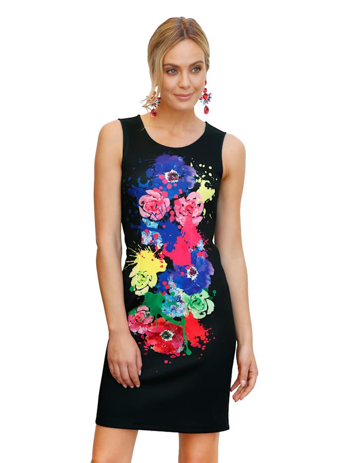 AMY VERMONT Kleid mit großflächigem Farbklecks vorne, Schwarz
