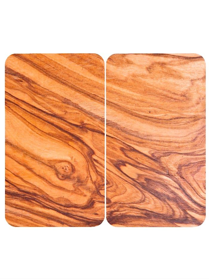 Wenko Set van 2 afdekplaten Chalet in wortelnotenhoutlook, Lichtbruin
