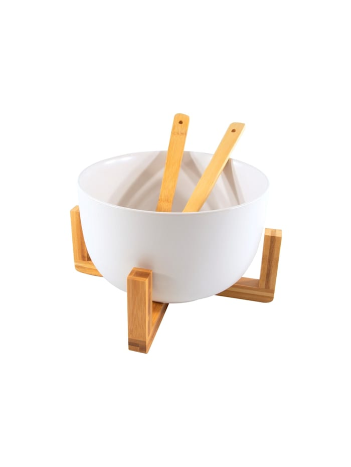 Neuetischkultur Salatschüssel mit Ständer mit Salatbesteck, Weiß