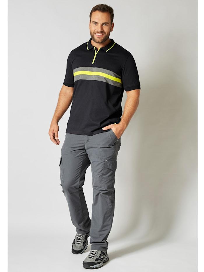 Men Plus Poloshirt schnelltrocknend, Schwarz/Grau
