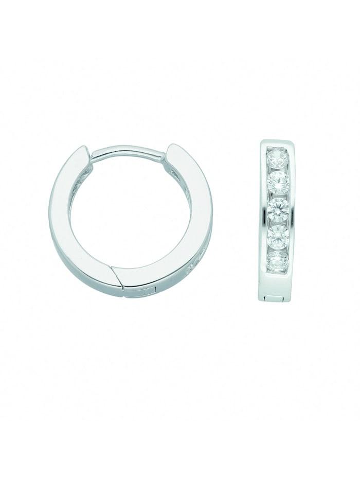 1001 Diamonds Damen Silberschmuck 925 Silber Ohrringe / Creolen mit Zirkonia Ø 14,1 mm, silber