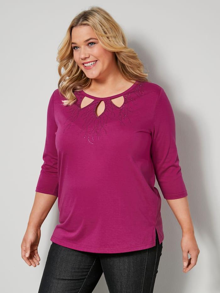 m. collection Shirt mit modischer Loch-Optik, Pink
