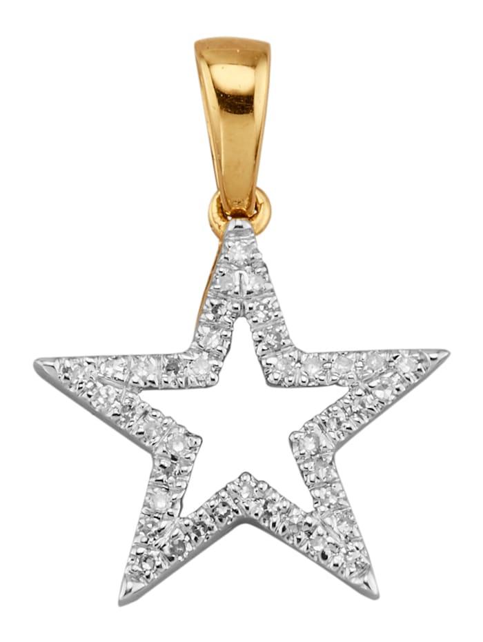 Diemer Diamant Stern-Anhänger mit Diamanten, Weiß