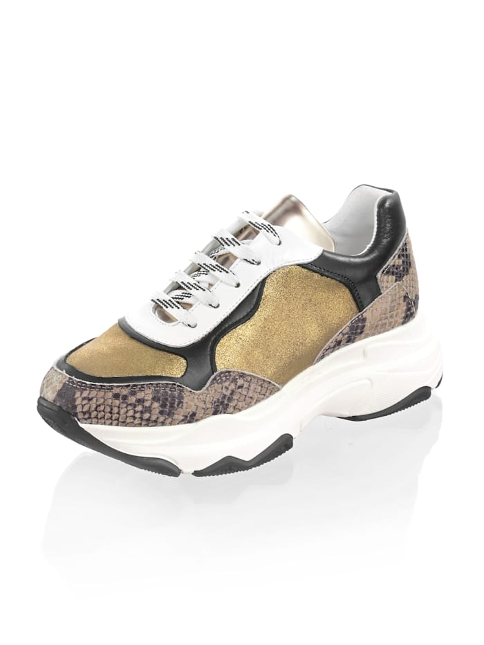 Alba Moda Sneaker mit Chunky-Sohle, Goldfarben/Braun/Schwarz