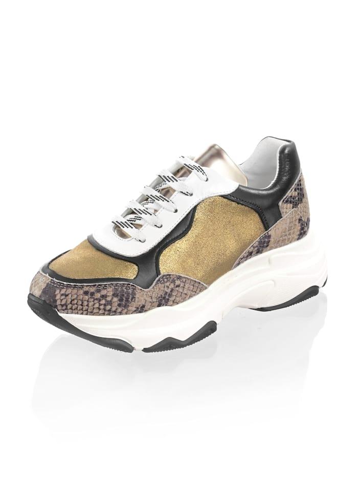Alba Moda Sneaker met chunky zool, Goudkleur/Bruin/Zwart