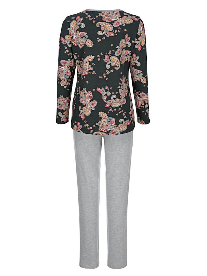 Pyjama à jolie finition contrastante à l'encolure en V