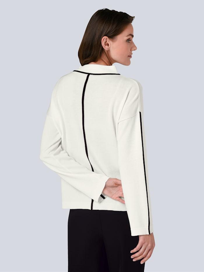 Pullover mit gestrickter Kontrast-Paspel