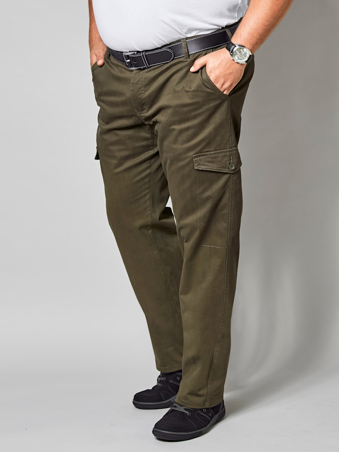 Men Plus Cargobroek met comfortabele stretchband, Kaki