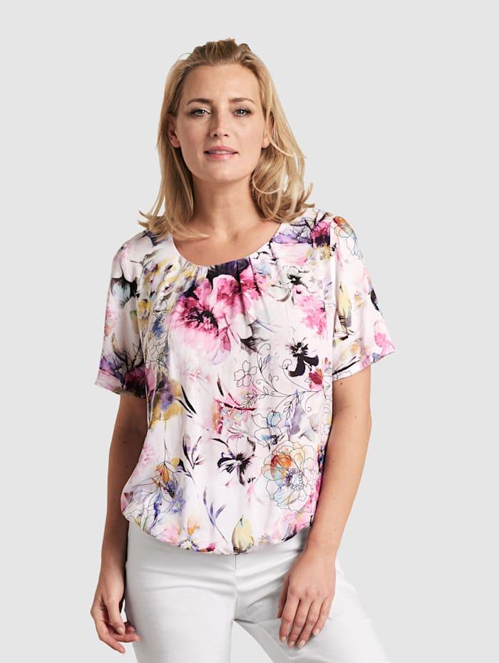 MONA Kukkakuvioinen pusero, Valkoinen/Roosa