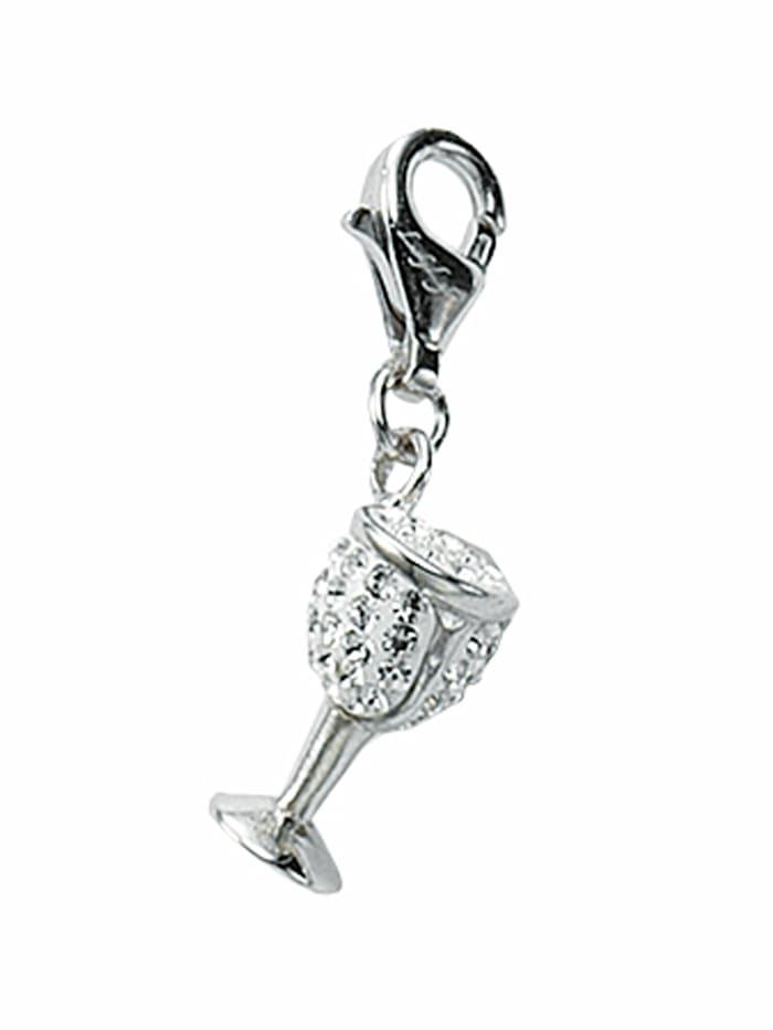 1001 Diamonds Damen Silberschmuck 925 Silber Charms Anhänger mit Glasstein, bunt/multi
