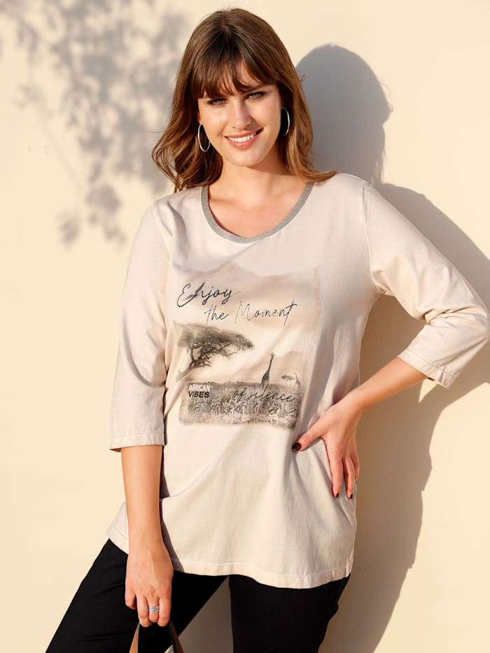 MIAMODA Shirt in Oil-Dyed Optik, Beige