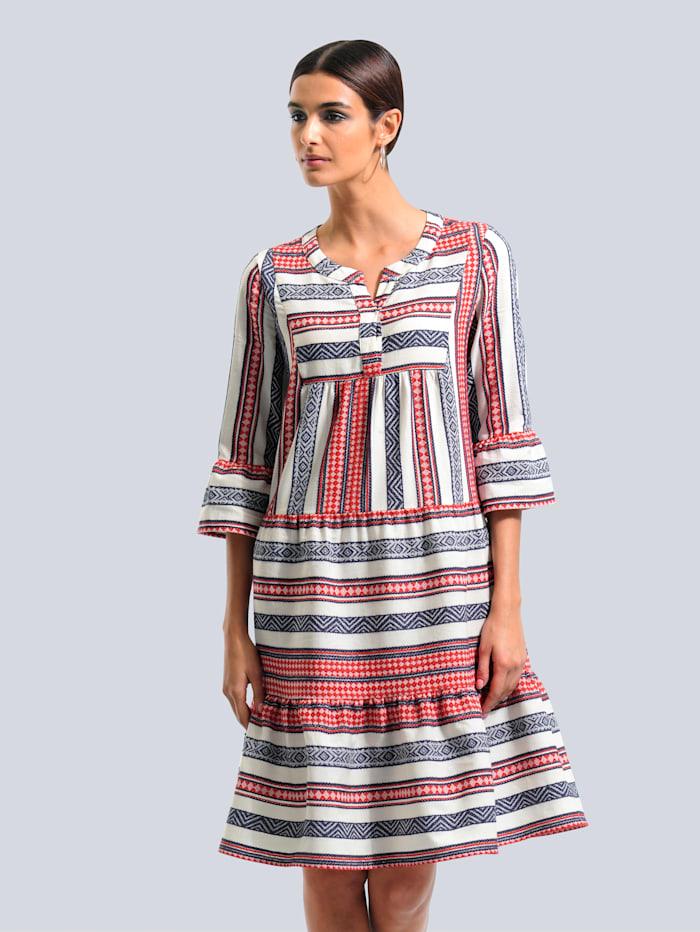 Alba Moda Kleid im ausdrucksstarkem Ethno-Mustermix, Off-white/Rot/Blau