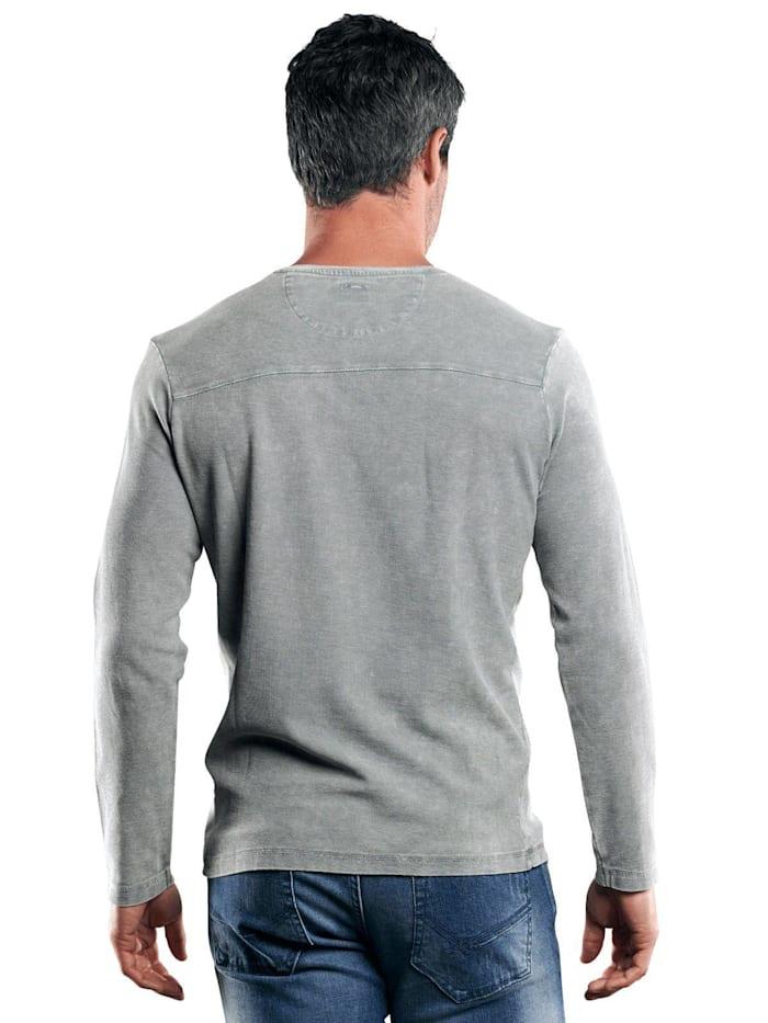 Henley Shirt mit Waffelstruktur