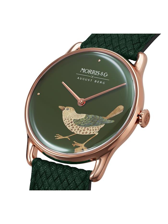 Uhr MORRIS & CO Rose Gold Bird Green Perlon 38mm