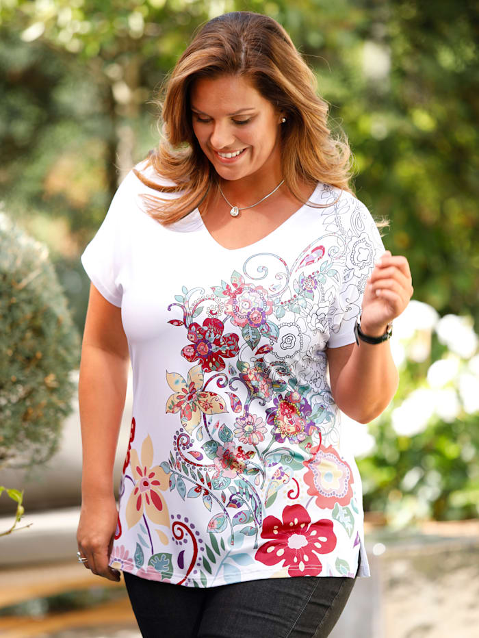 m. collection Shirt mit wunderschönem Blumen-Druckmotiv im Vorderteil, Weiß/Rot/Grün