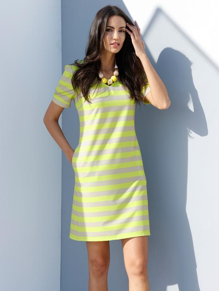 AMY VERMONT Kleid allover gestreift, Beige/Neongelb
