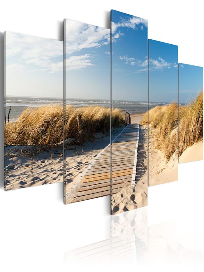 artgeist Wandbild Wilder Strand - 5 Teile, Beige,Himmelblau