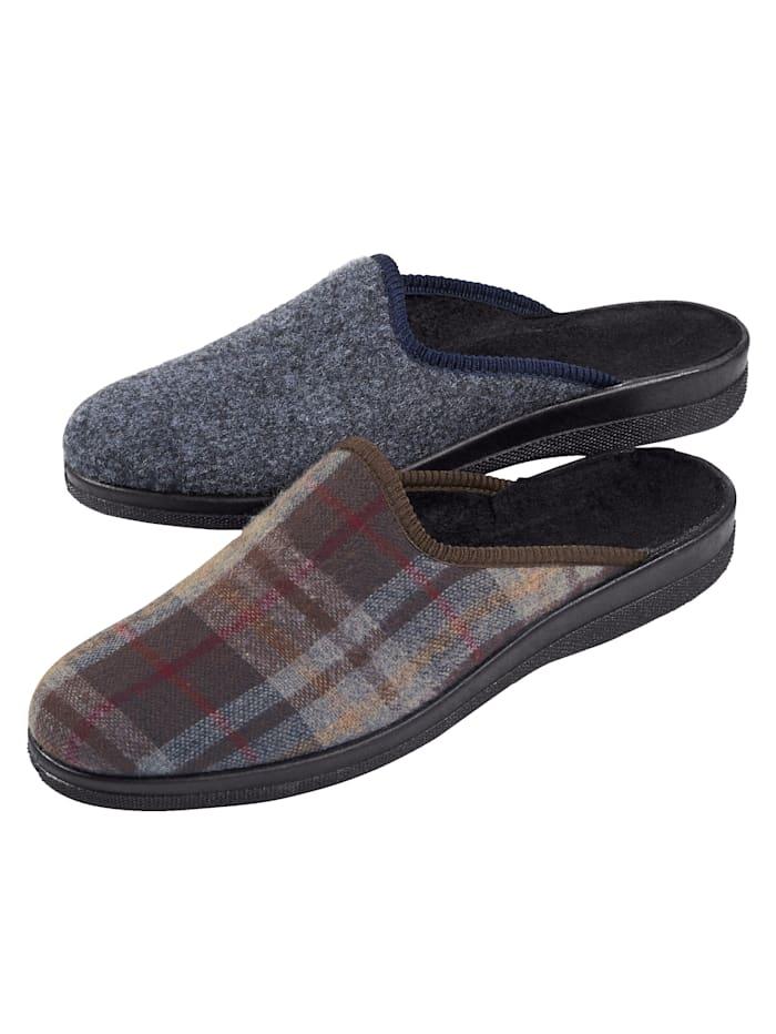 Roger Kent Doppelpack-Herren-Pantoffeln 2 Paar = 1 Preis, Marineblau/Multicolor