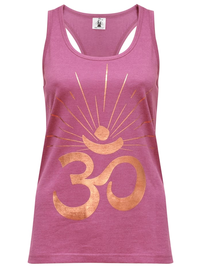 "Yoga-racerback-top ""om Sunray"" - Rosewine/copper"