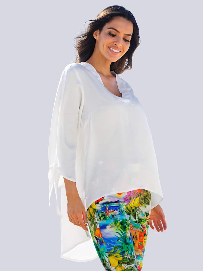 Alba Moda Tunikabluse mit längerem Rückenteil, Weiß