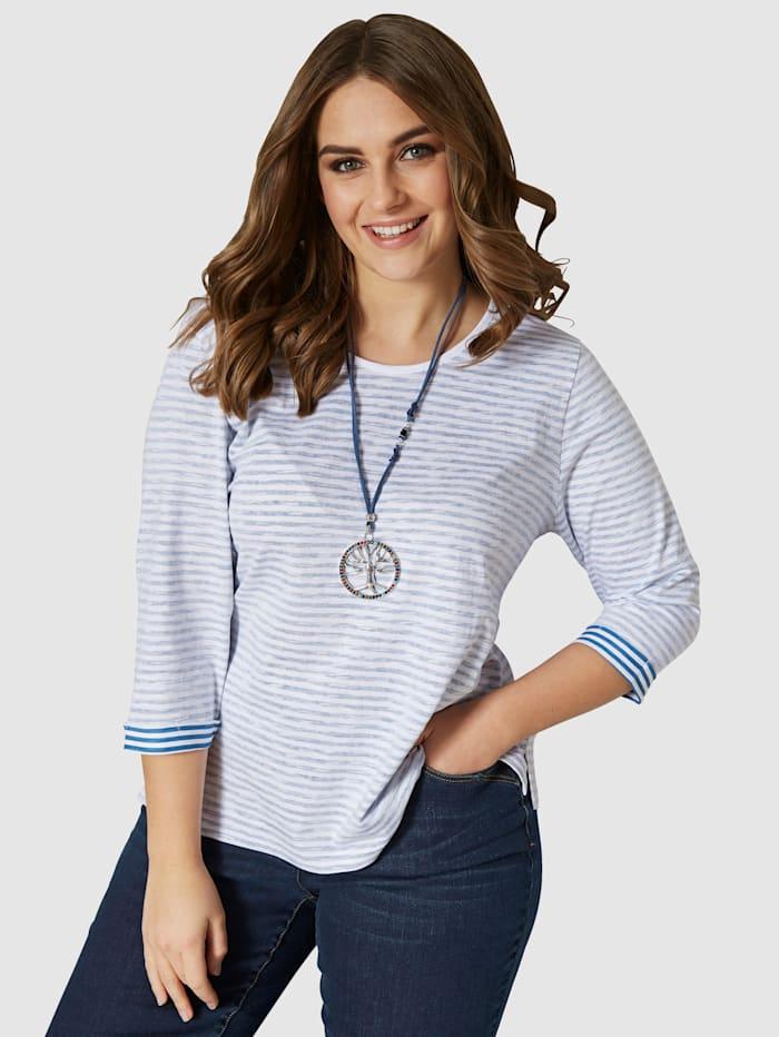 Janet & Joyce Shirt mit Streifenmuster, Blau/Weiß