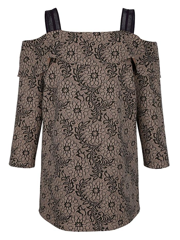 MIAMODA Shirt aus floralem Jacquard, Beige/Schwarz