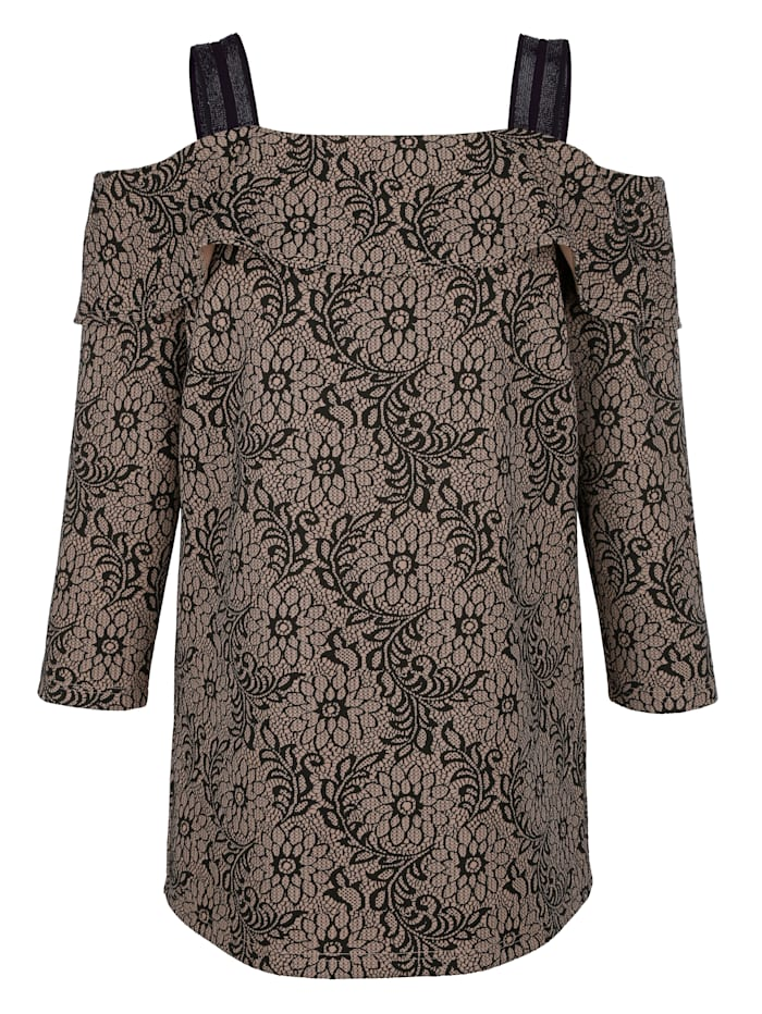 MIAMODA T-shirt en jacquard floral, Beige/Noir