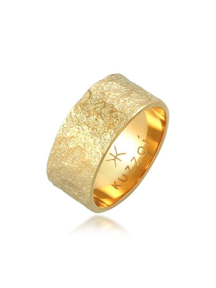 Kuzzoi Ring Herren Bandring Organic Struktur 925 Silber, Gold