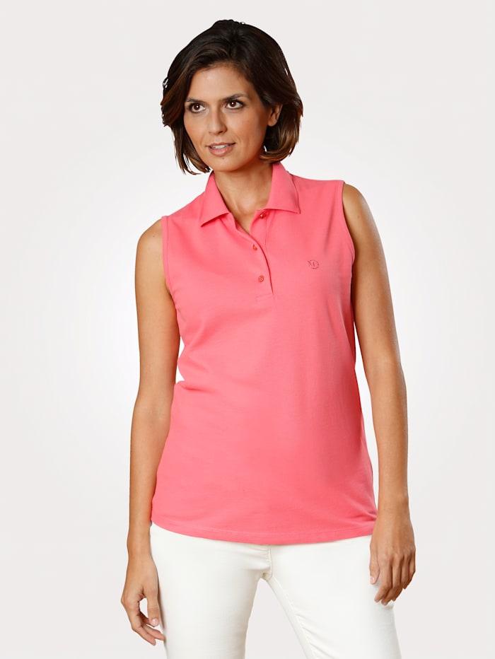 MONA Poloshirt mit edler Strasssteinzier, Koralle