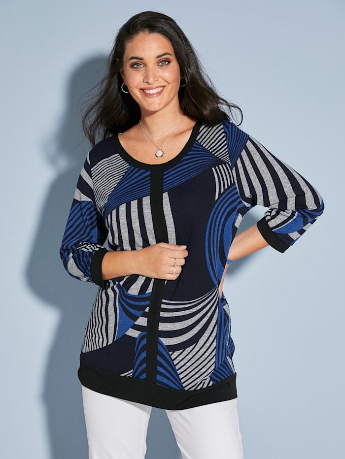 MIAMODA T-shirt en maille fine à motif graphique, Gris/Noir/Bleu