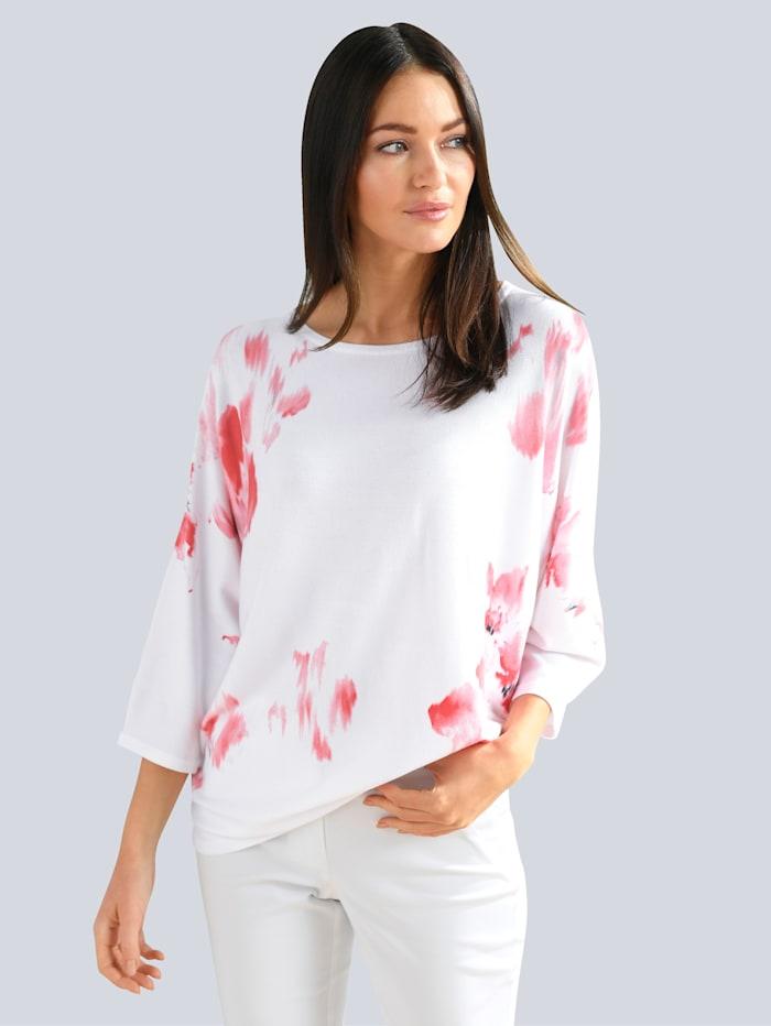 Alba Moda Pullover mit exklusivem Alba Moda Dessin, Off-white/Koralle