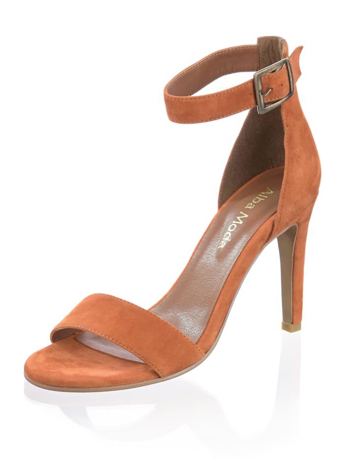 Alba Moda Sandales en cuir velours, Orange