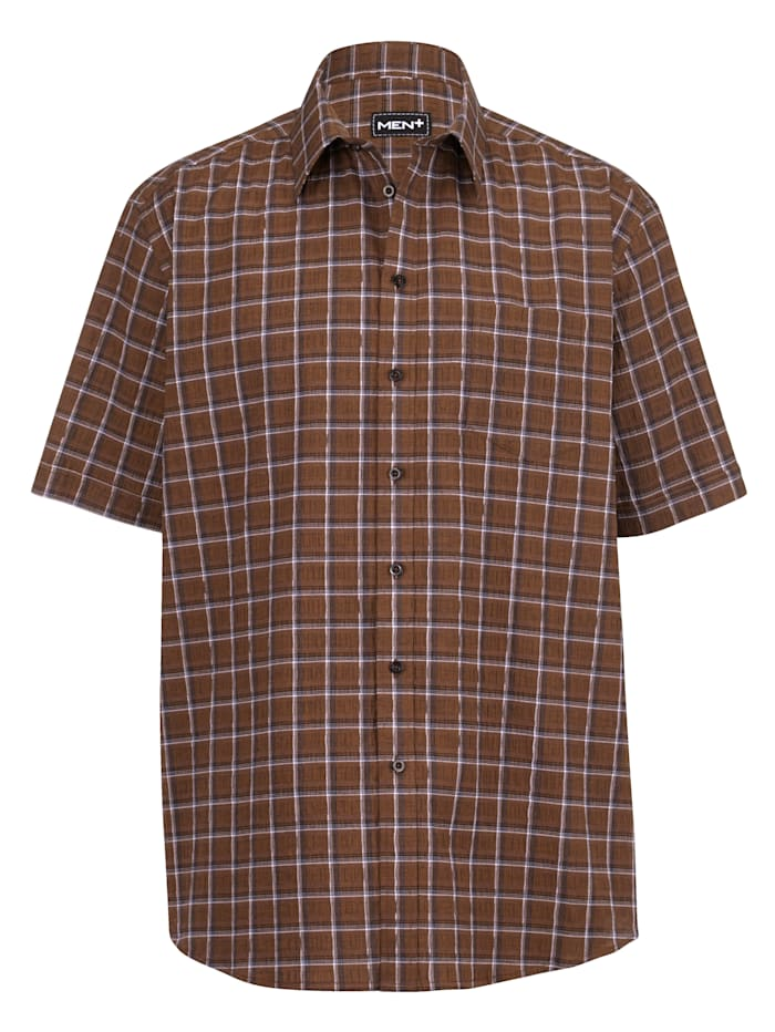 Men Plus Overhemd met speciale pasvorm, Zwart/Wit/Cognac