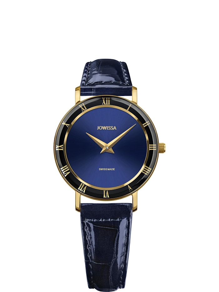 Jowissa Quarzuhr Roma Swiss Ladies Watch, blau gold