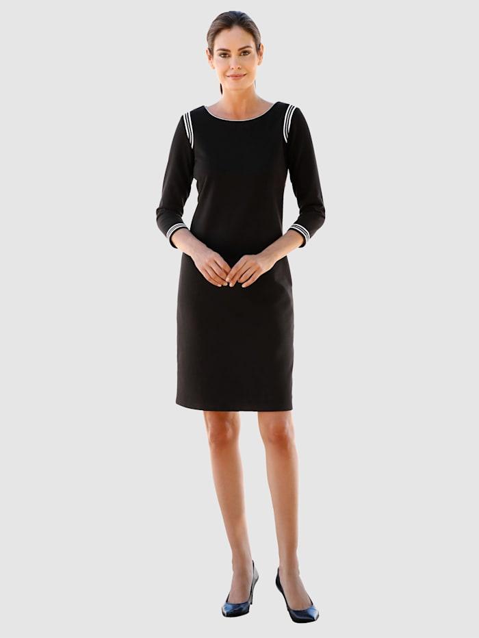Jerseykleid mit kontrastfarbenem Ripsband