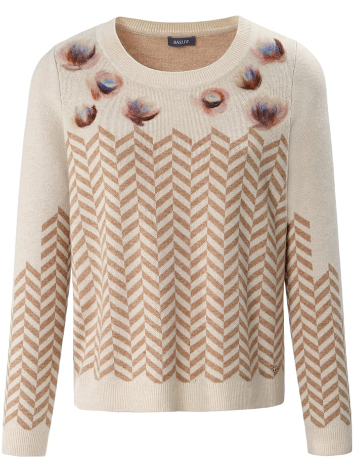 Basler Pullover mit Jacquard-Muster und Wollanteil, sand multicolour