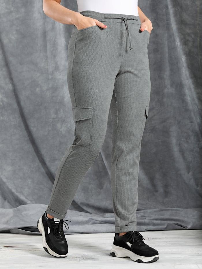 MIAMODA Pantalon cargo à motif chevrons tendance, Noir/Blanc