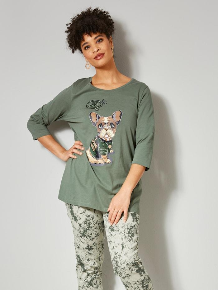 Angel of Style Shirt mit süßem Hundemotiv, Oliv