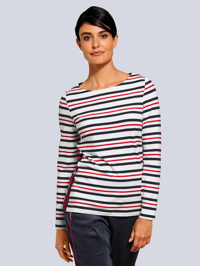 Alba Moda Shirt met maritieme strepen, Marine/Offwhite/Rood