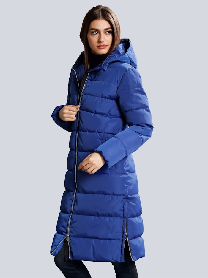 Alba Moda Gewatteerde jas met ritsen opzij, Blauw