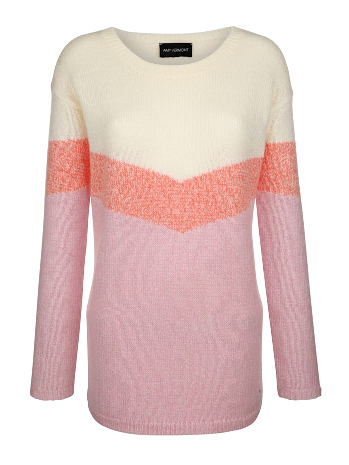 AMY VERMONT Pullover im Streifen-Dessin, Off-white/Rosé/Orange