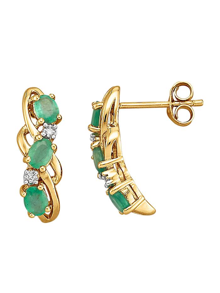 Amara Pierres colorées Boucles d'oreilles avec émeraudes et diamants, Vert