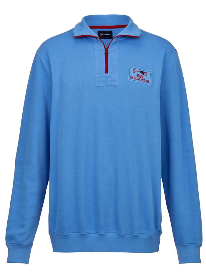 BABISTA Sweat-shirt en fine structure côtelée, Bleu