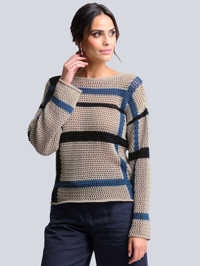 Alba Moda Pullover in schönem Ajour-Strick, Stein/Marineblau/Blau