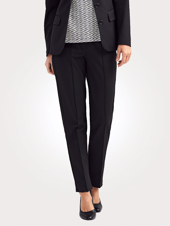 MONA Trousers with leg-lengthening creases, Black